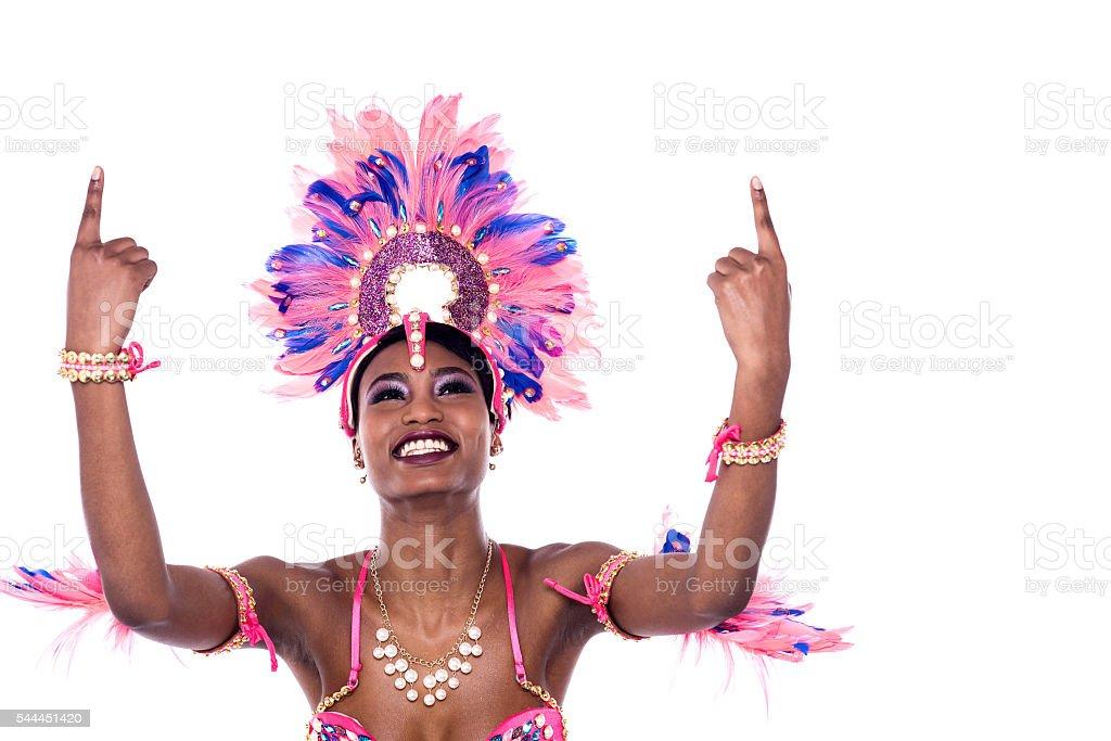 Cheerful carnival woman dancer. stock photo