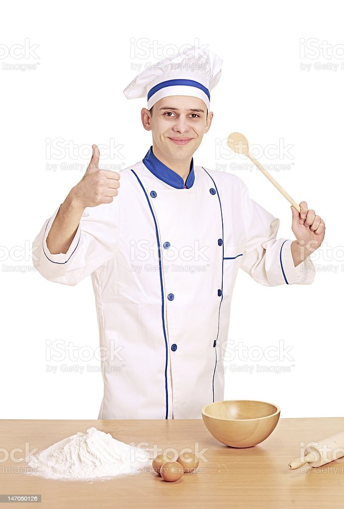 Cheerful chef preparing to cook royalty-free stock photo