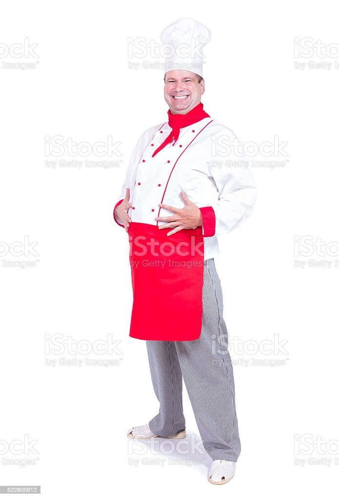 cheerful chef standing isolated on white background stock photo