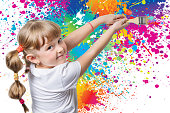 cheerful child painted on the wall