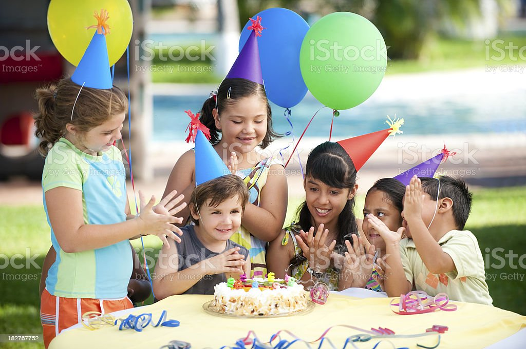 Cheerful children enjoying the birthday party royalty-free stock photo