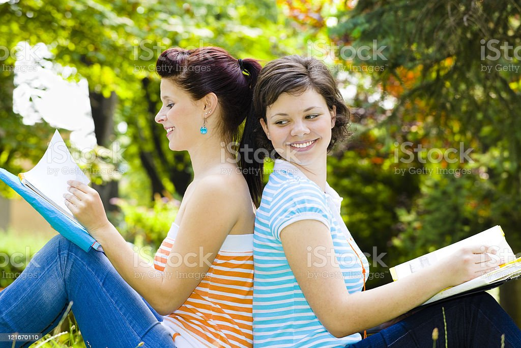 Cheerful college students girls royalty-free stock photo