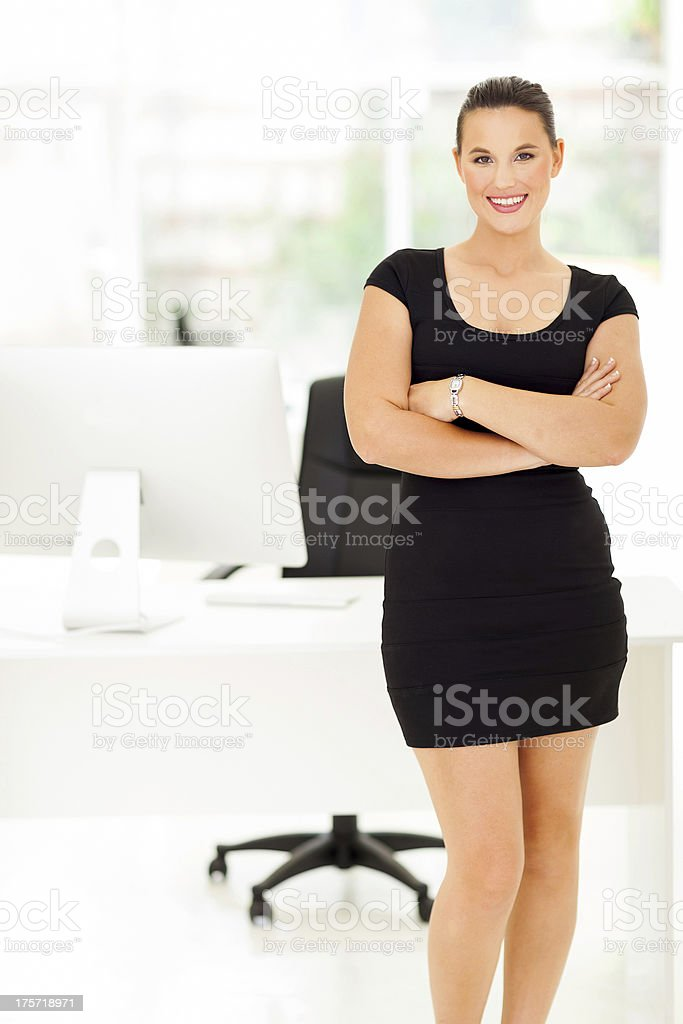cheerful corporate worker in office royalty-free stock photo