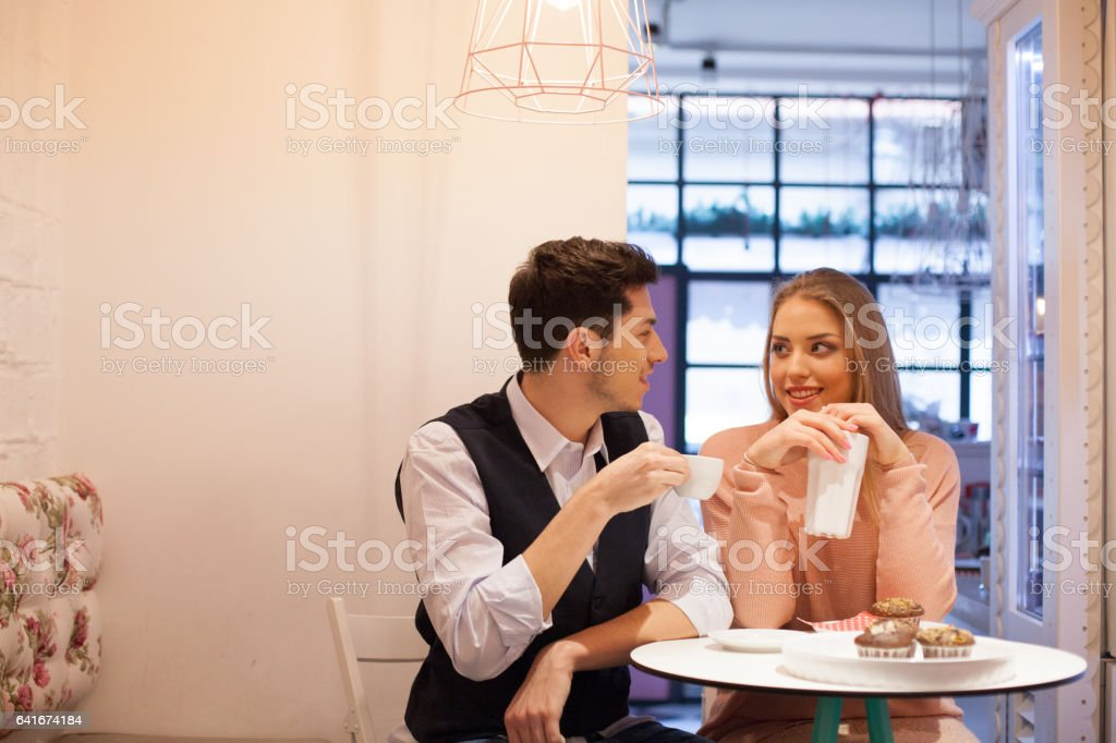 Cheerful couple at afternoon date stock photo