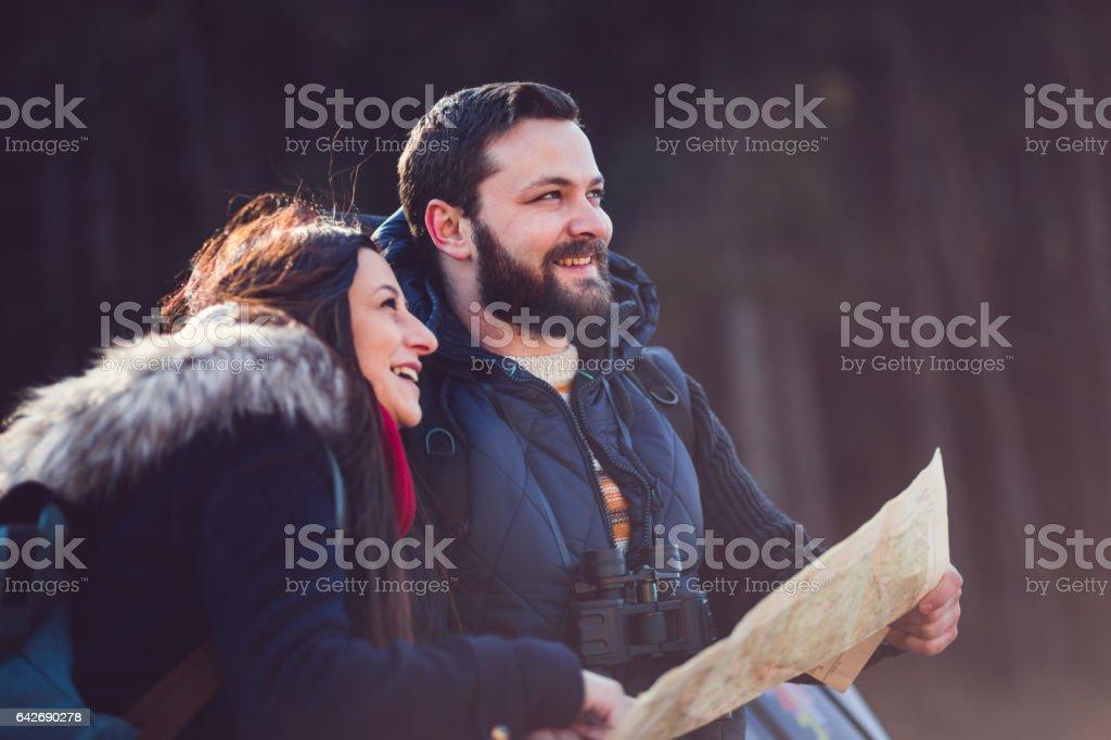 Cheerful Couple Enjoying In Nature stock photo