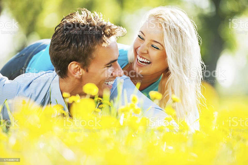 Cheerful couple enjoying in the nature. royalty-free stock photo
