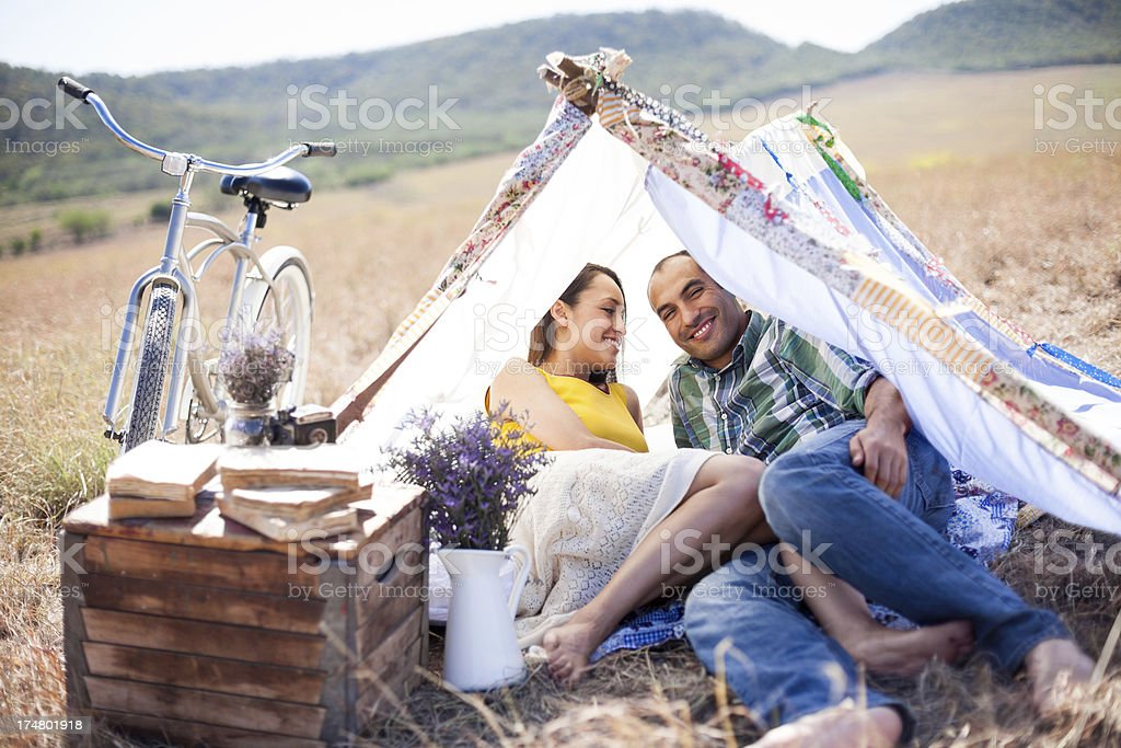 Cheerful couple enjoying nature royalty-free stock photo