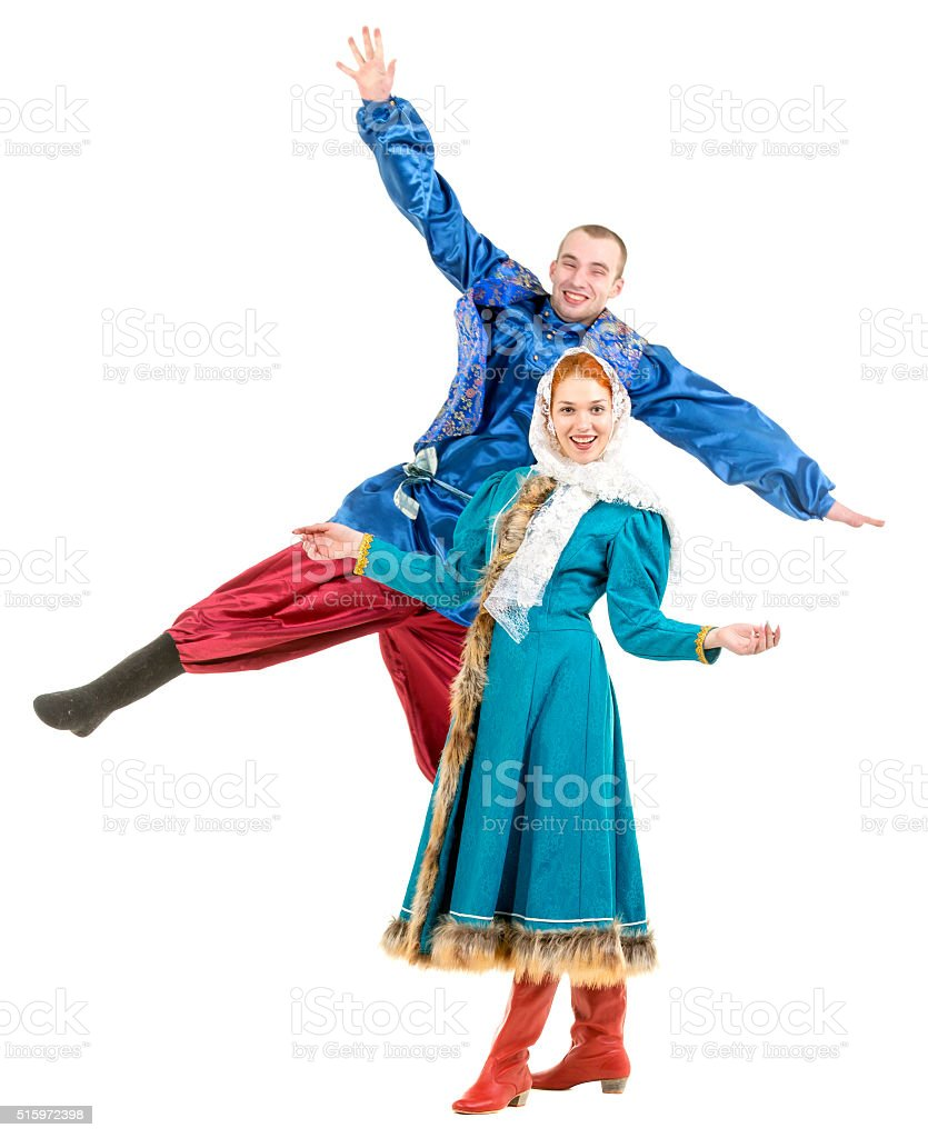 Cheerful Couple in Russian Clothes stock photo