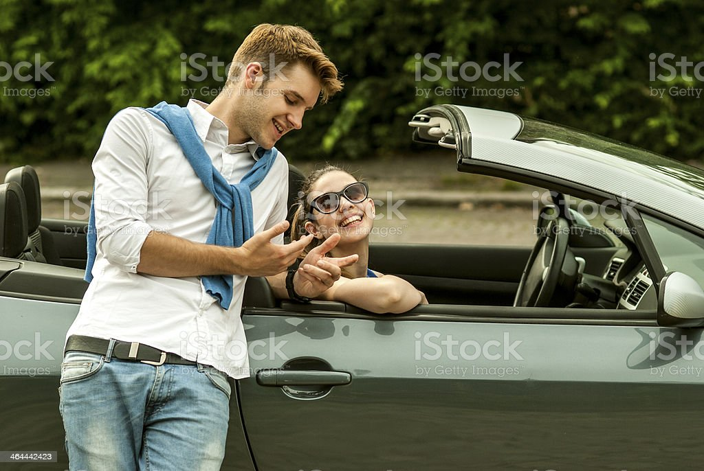 cheerful couple talking royalty-free stock photo