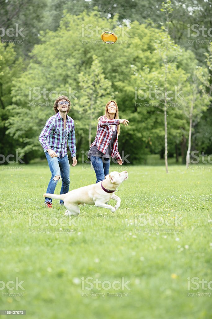 Cheerful Couple Throwing Frisbee To Their Dog Outdoors. royalty-free stock photo