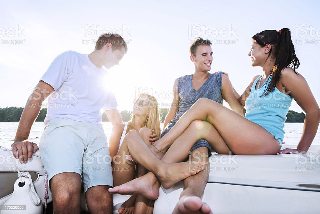 Cheerful couples on a sailing ship. royalty-free stock photo