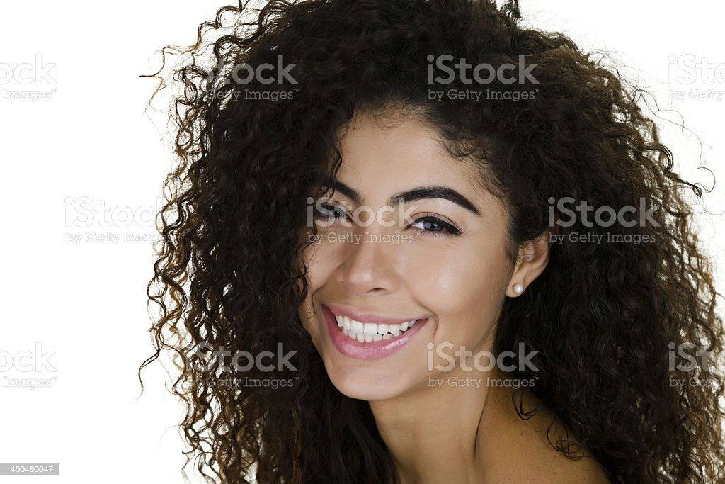 Cheerful curly haired woman royalty-free stock photo