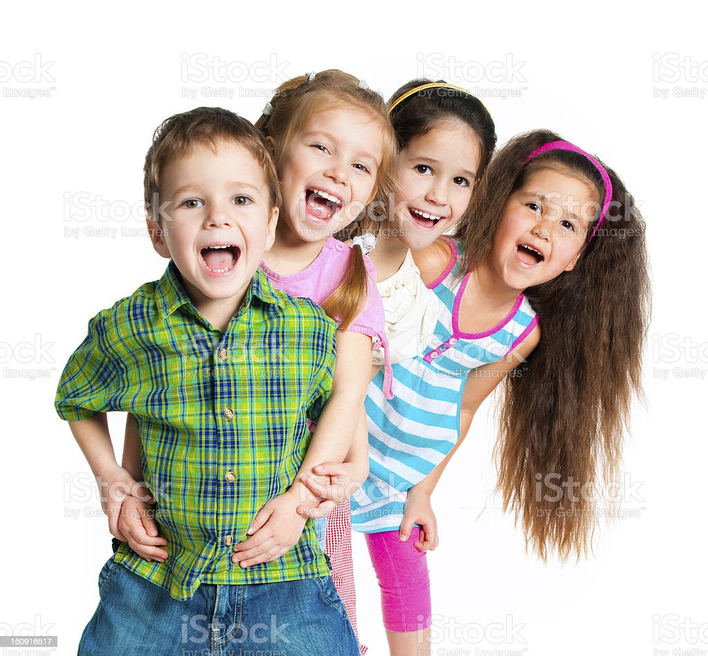 Cheerful cute kids posing with a white background stock photo