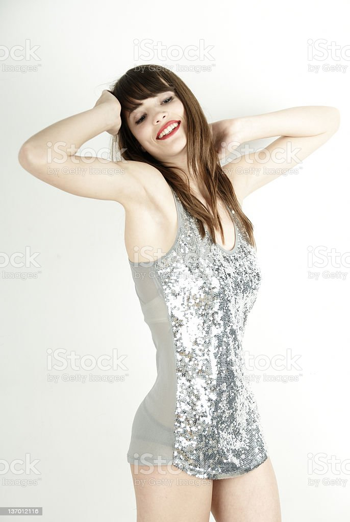 cheerful disco girl royalty-free stock photo
