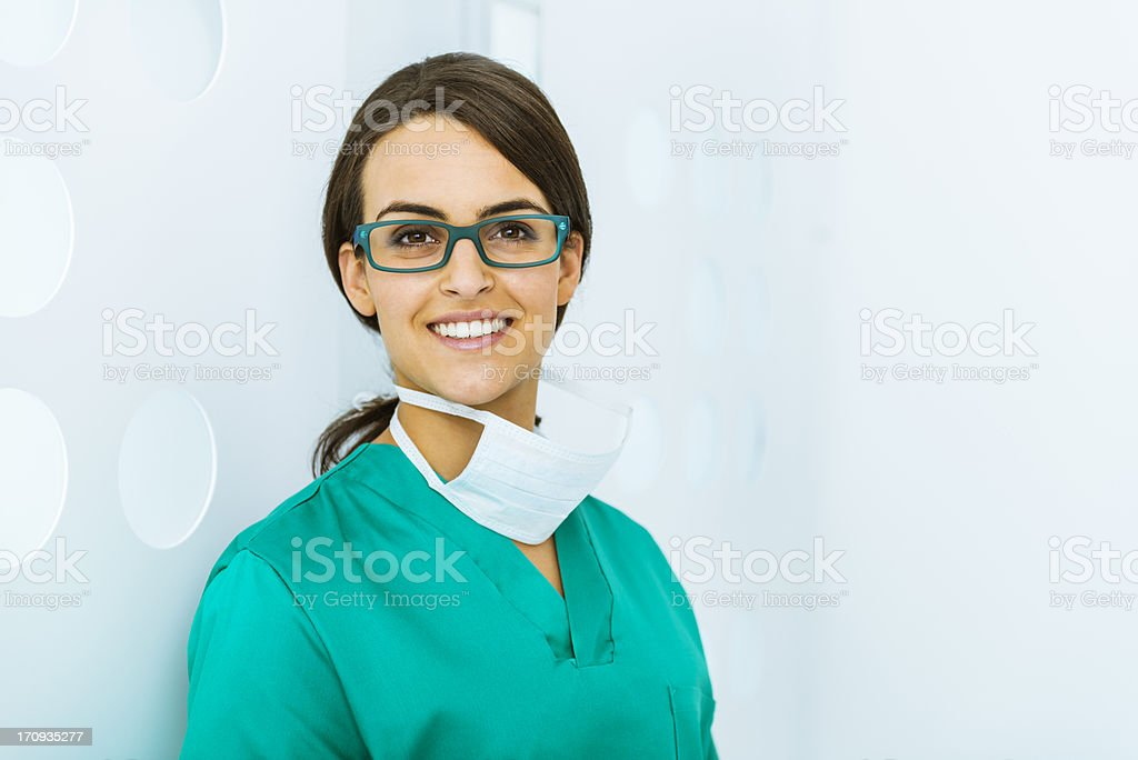 Cheerful doctor in a modern office stock photo