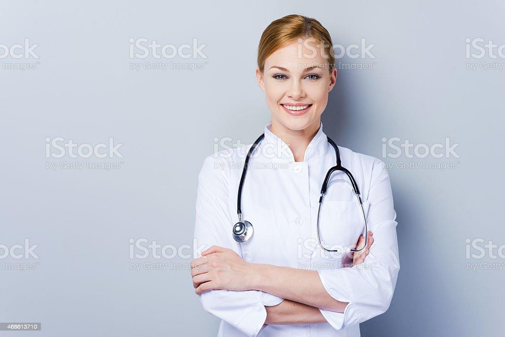 Cheerful doctor. stock photo