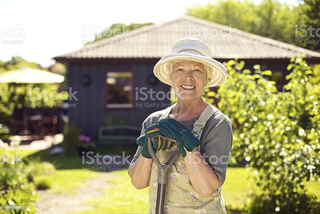Cheerful elder woman with gardening tool in backyard stock photo