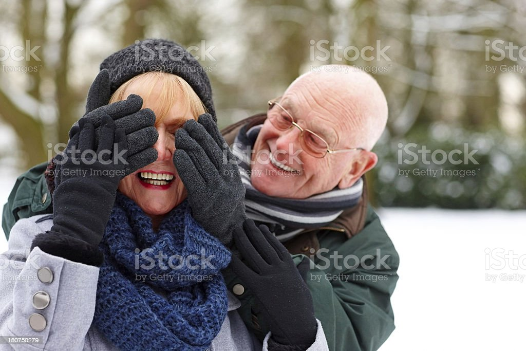 Cheerful elderly man surprising his wife stock photo