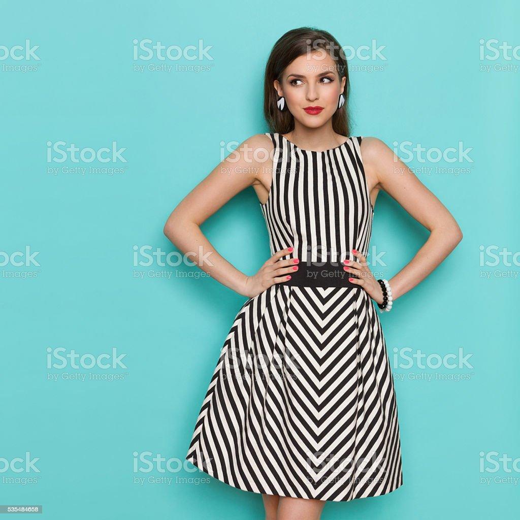 Cheerful Elegant Woman Looking Away stock photo