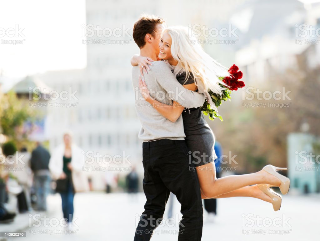 Cheerful embraced couple. stock photo