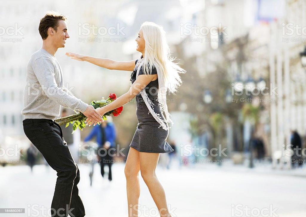 Cheerful embraced couple. royalty-free stock photo