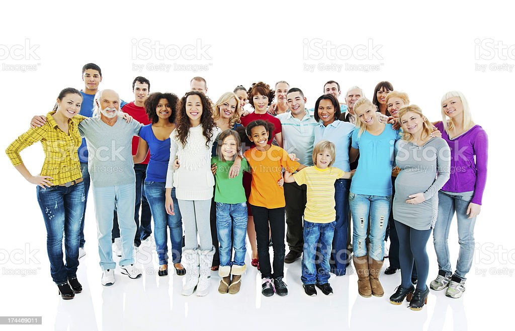 Cheerful embraced mixed age group of people. stock photo