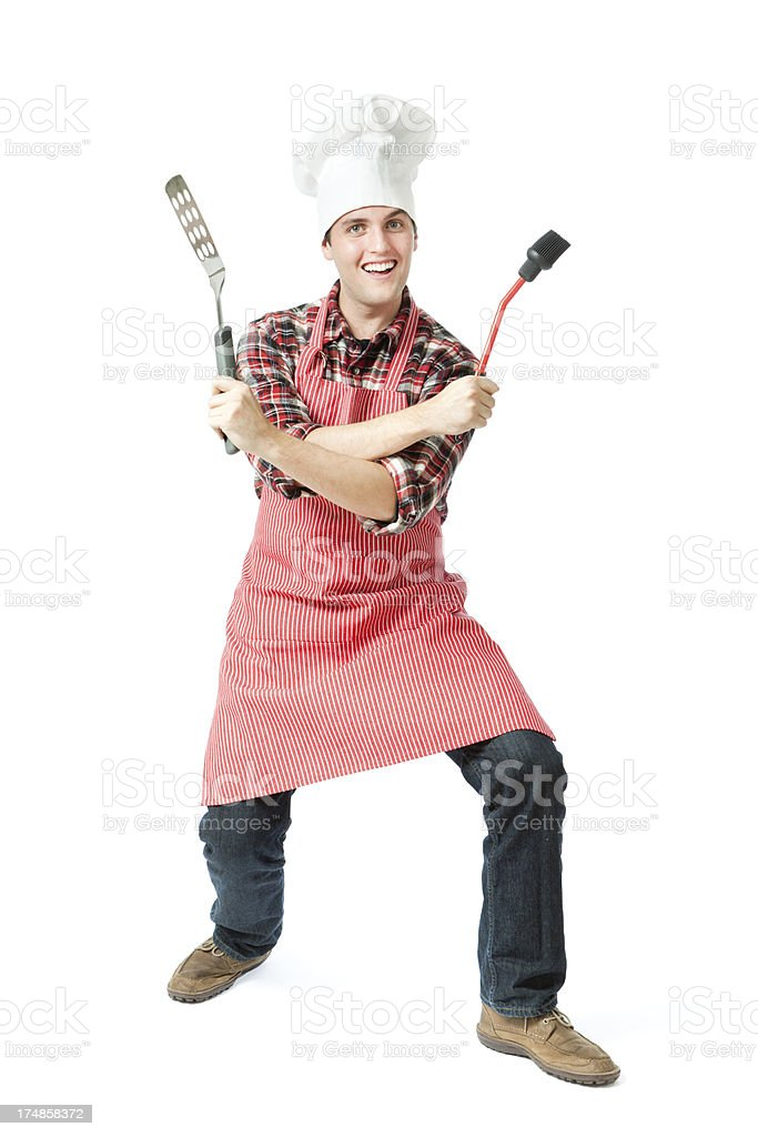 Cheerful Excited Young Grill Chef Cook Posing on White Background stock photo