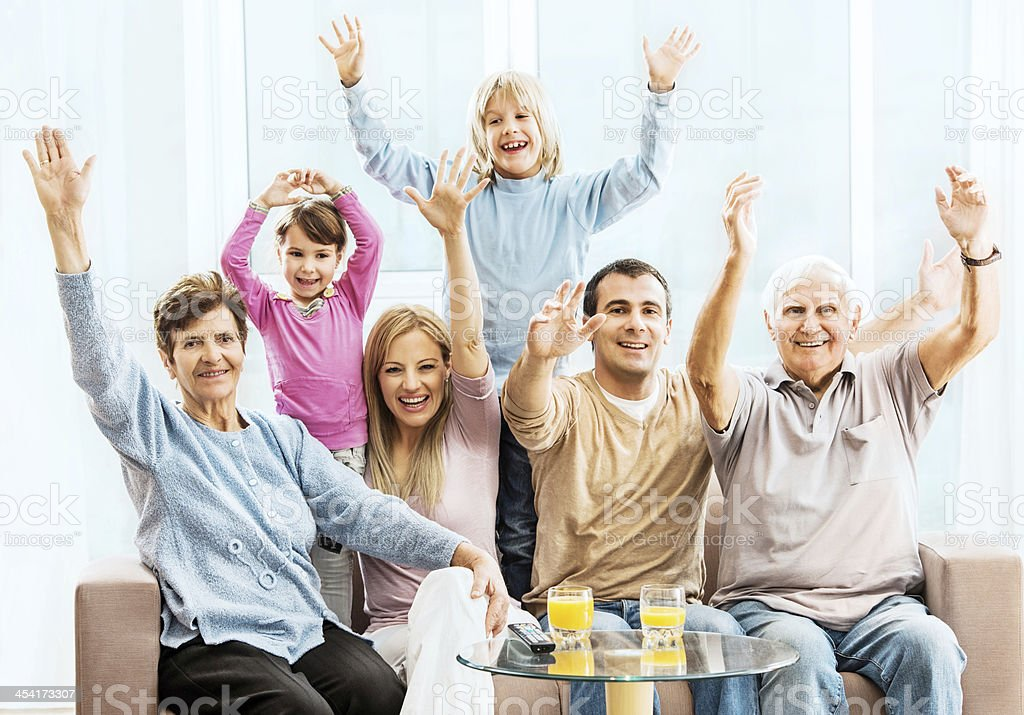 Cheerful extended family. royalty-free stock photo