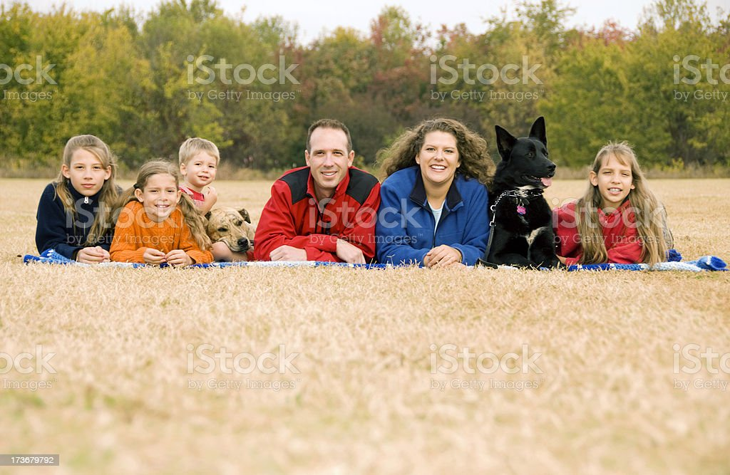 Cheerful family and Dogs Lying on Grass royalty-free stock photo