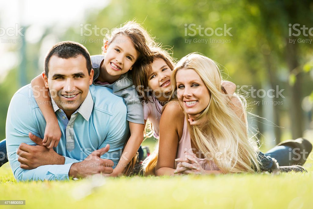 Cheerful family in nature. royalty-free stock photo