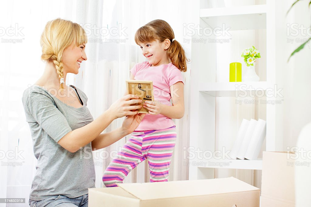 Cheerful Family Moving House. royalty-free stock photo