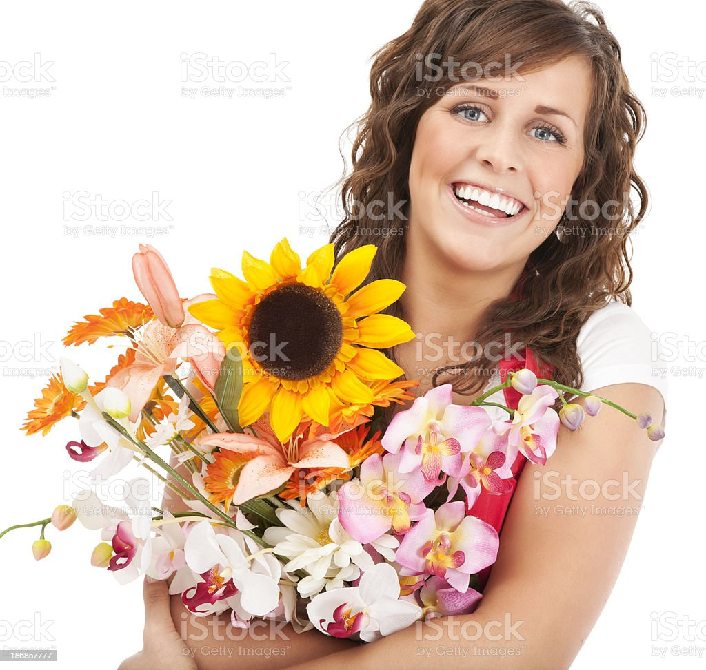Cheerful Florist with Flowers royalty-free stock photo