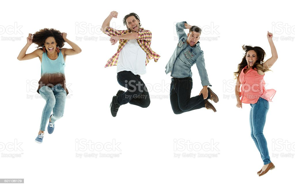 Cheerful four people jumping stock photo