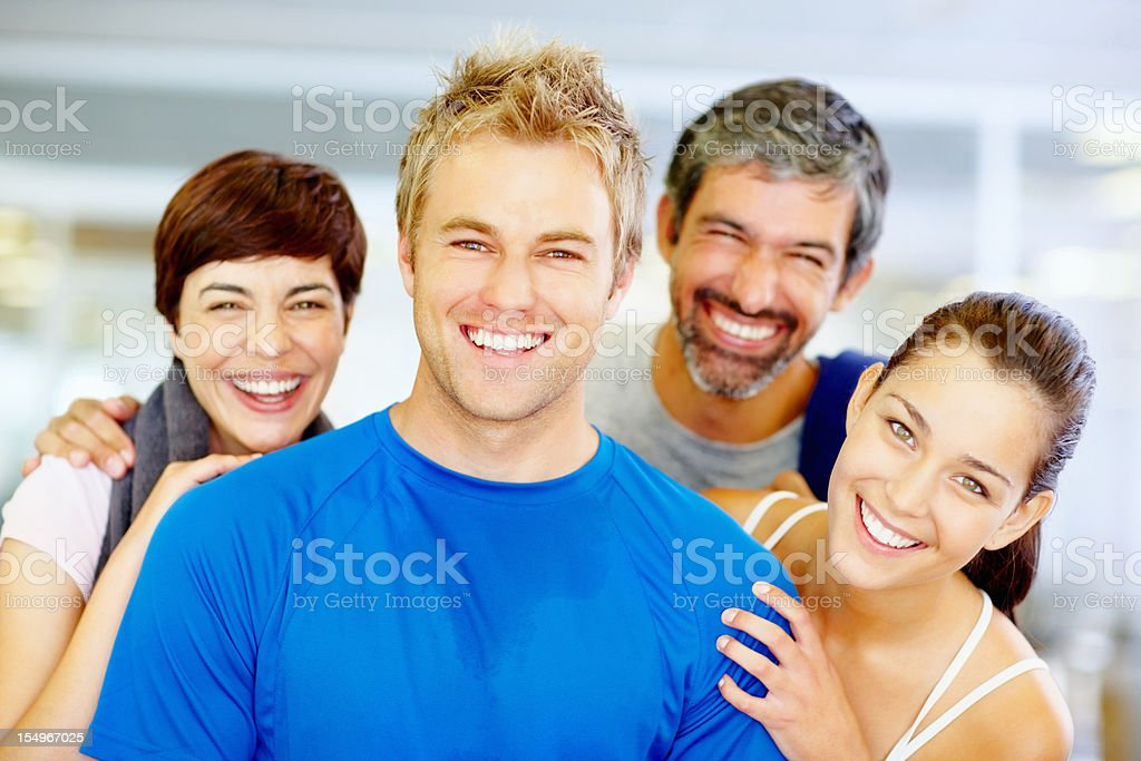 Cheerful friends at the gym royalty-free stock photo