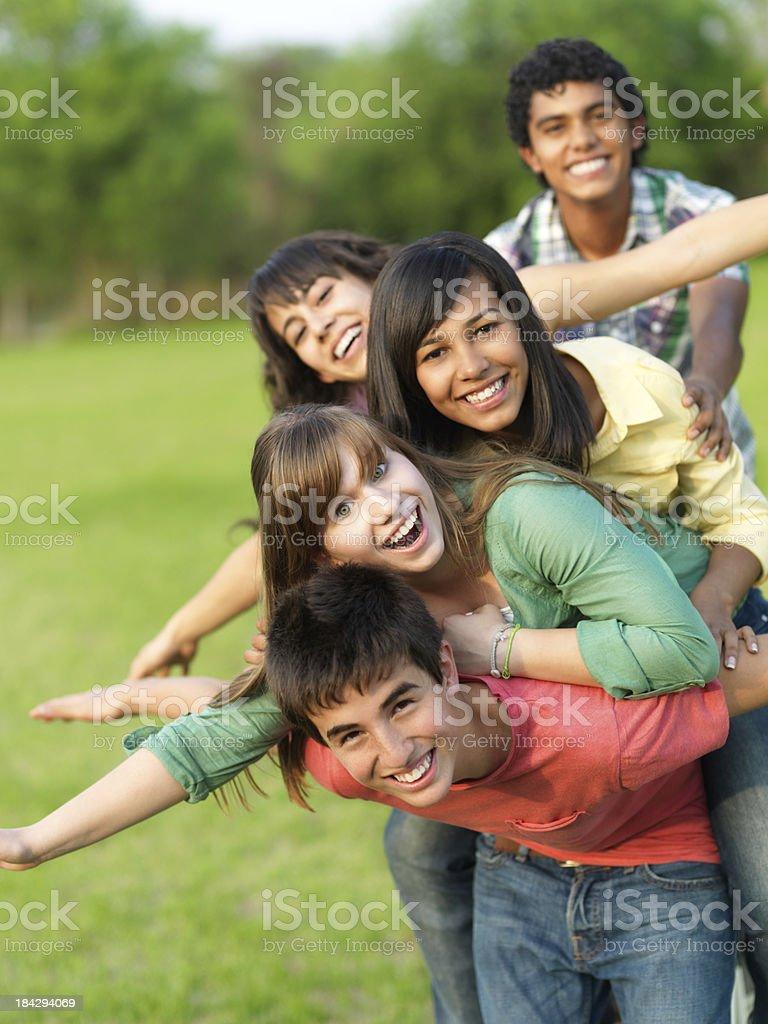 Cheerful friends having fun stock photo
