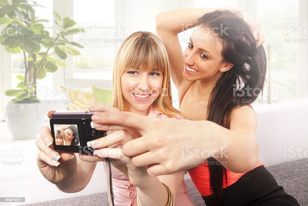 Cheerful friends snap picture royalty-free stock photo