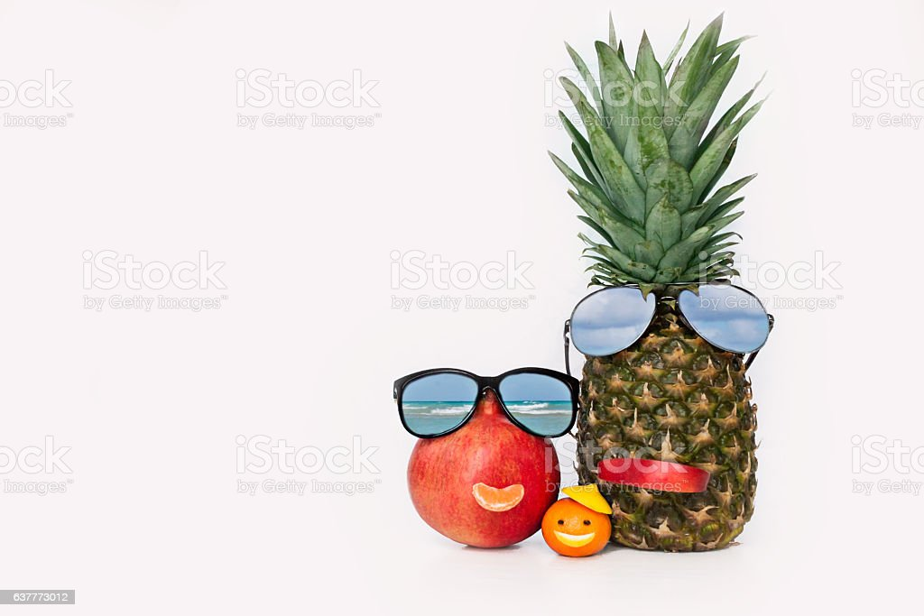 Cheerful Fruit in the form of Family stock photo