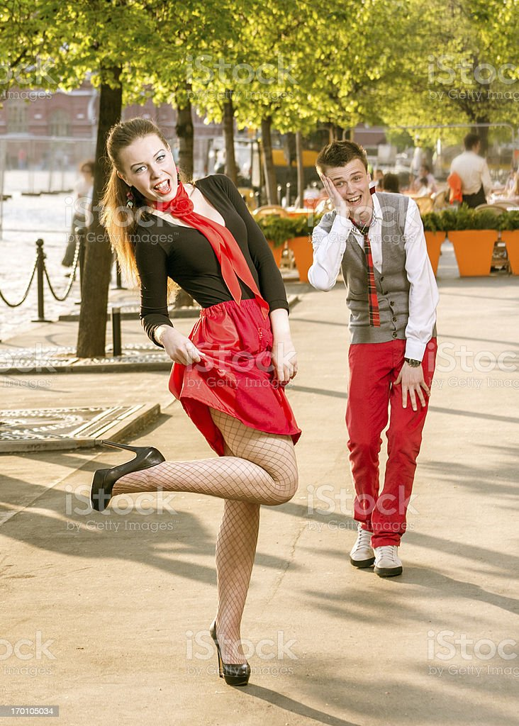 Cheerful girl dancing outdoors royalty-free stock photo