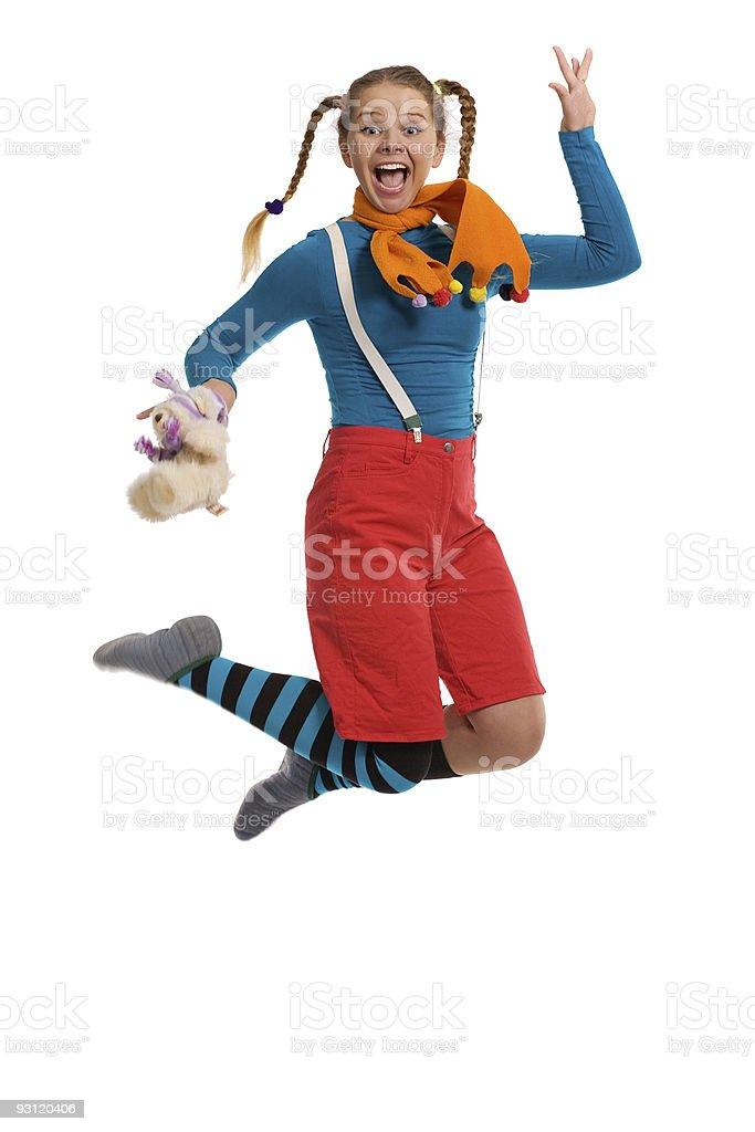 cheerful girl jumps stock photo