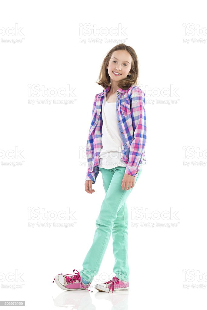 Cheerful girl posing stock photo