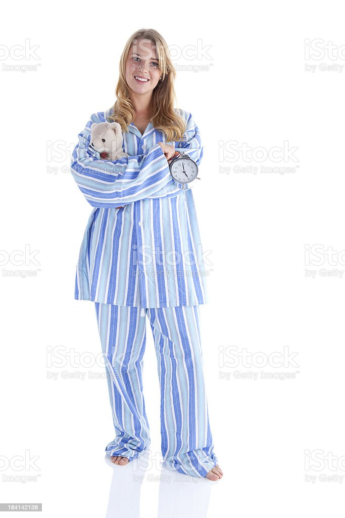 Cheerful Girl Ready For Bed stock photo