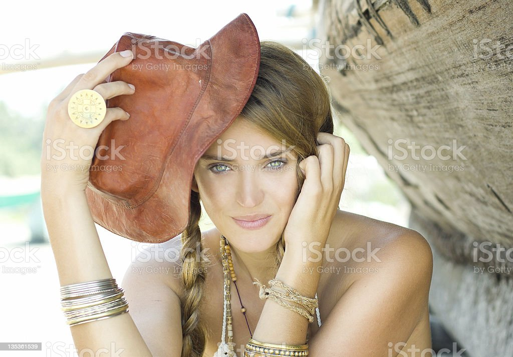 Cheerful girl with a hat royalty-free stock photo