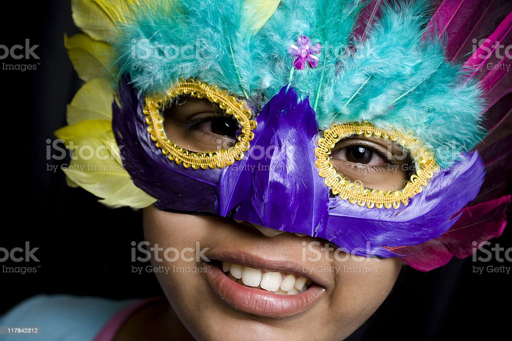 Cheerful Girl with a mask royalty-free stock photo