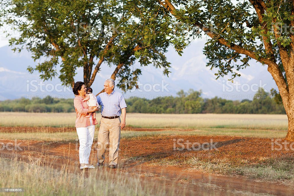 Cheerful grandparents walking in nature royalty-free stock photo