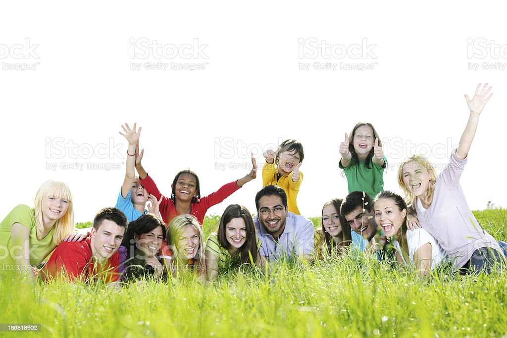 Cheerful group enjoying in the nature. royalty-free stock photo