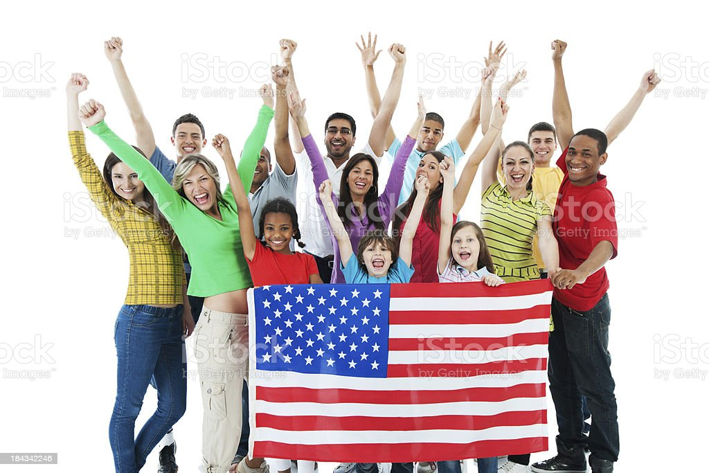 Cheerful group holding American flag. royalty-free stock photo
