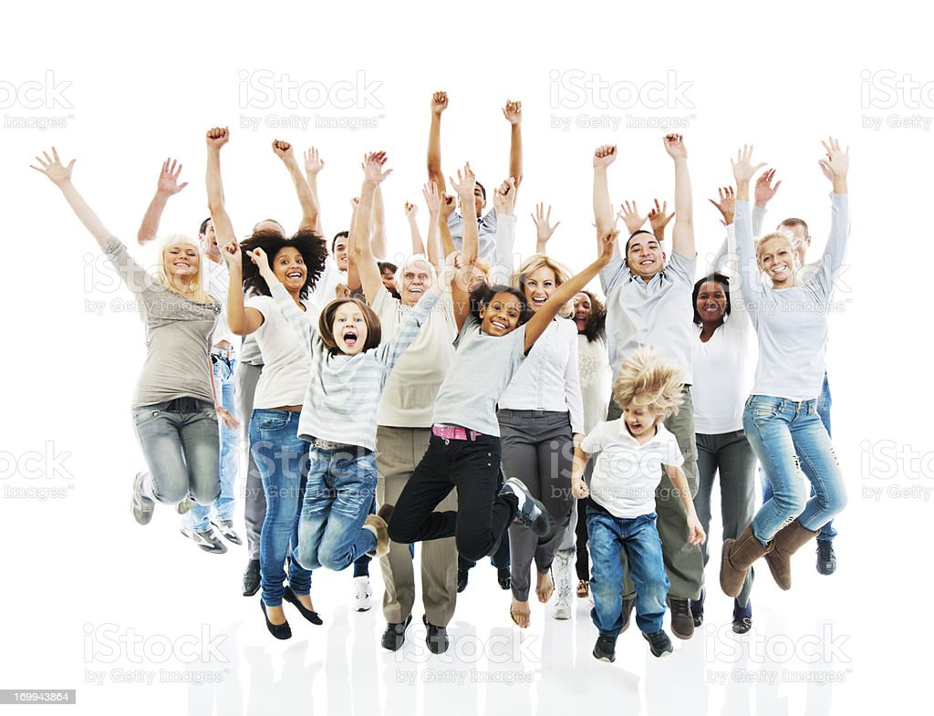 Cheerful group of people jumping with raised hands. stock photo