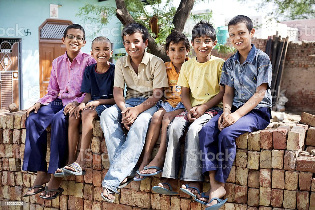 Cheerful Group of Six Rural Indian Children stock photo