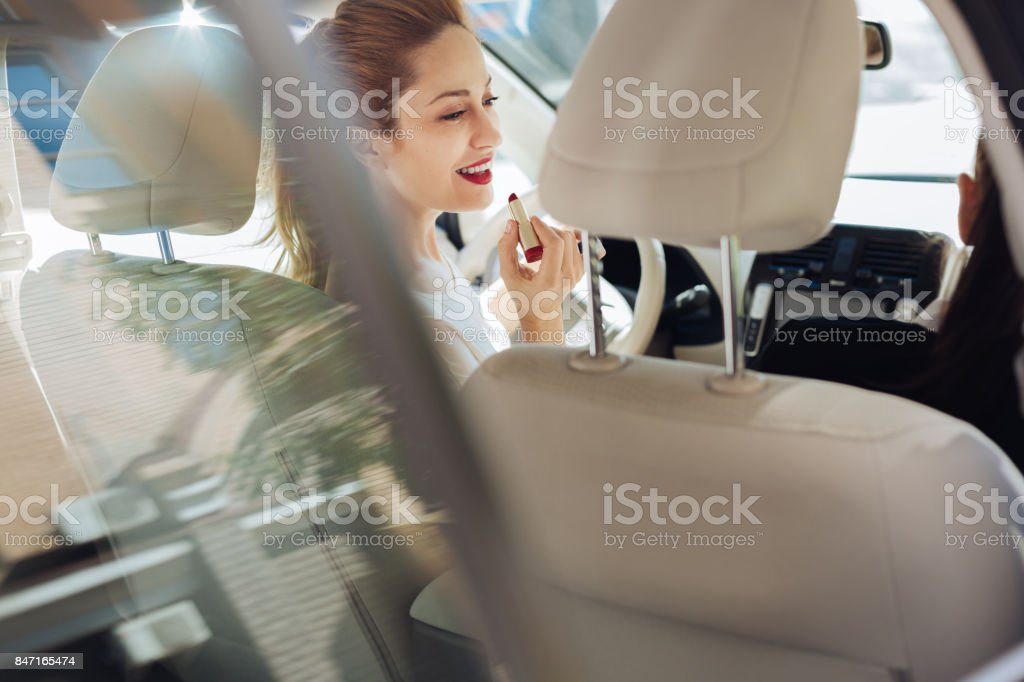 Cheerful happy woman smiling stock photo