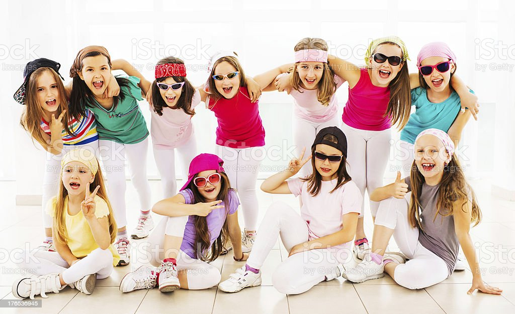 Cheerful hip hop dance group. royalty-free stock photo